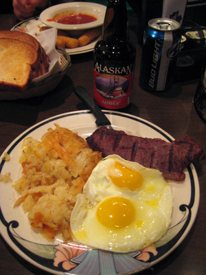 winner winner steak-eggs-beer dinner